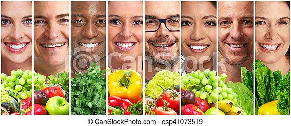 légumes, gens, fruits - csp41073519