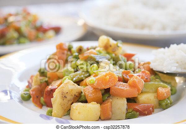 légumes, riz, basmati - csp32257878