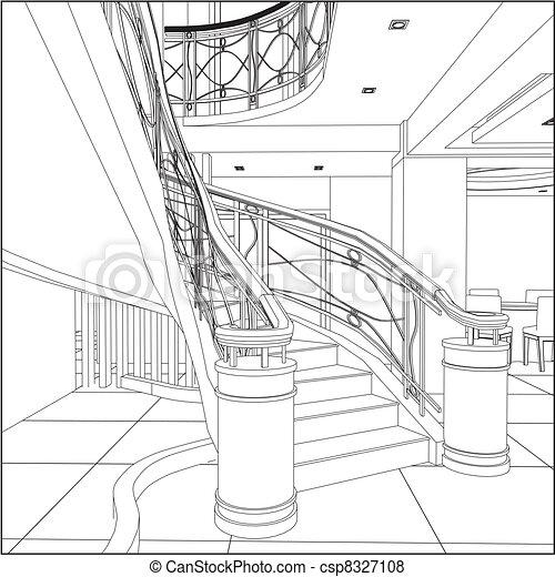 lépcsőházak, szerkesztés, spirál - csp8327108