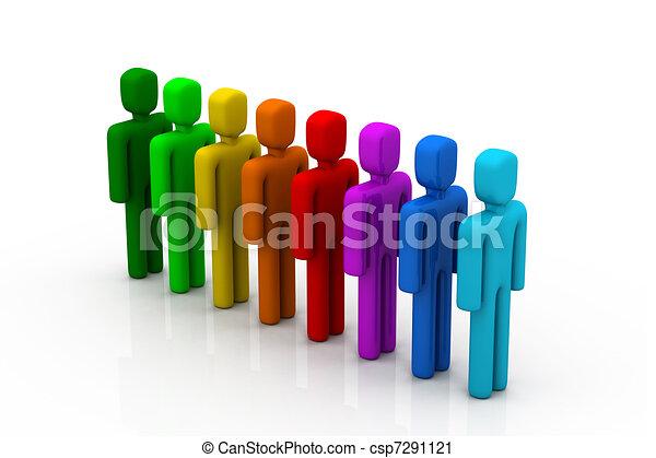 Gente colorida en la fila - csp7291121