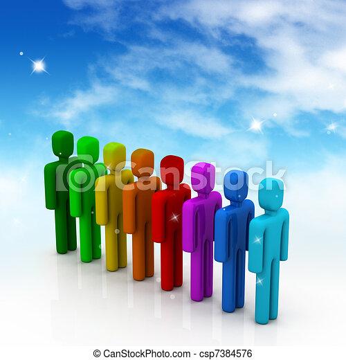 Gente colorida en la fila - csp7384576