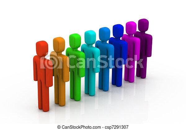Gente colorida en la fila - csp7291307