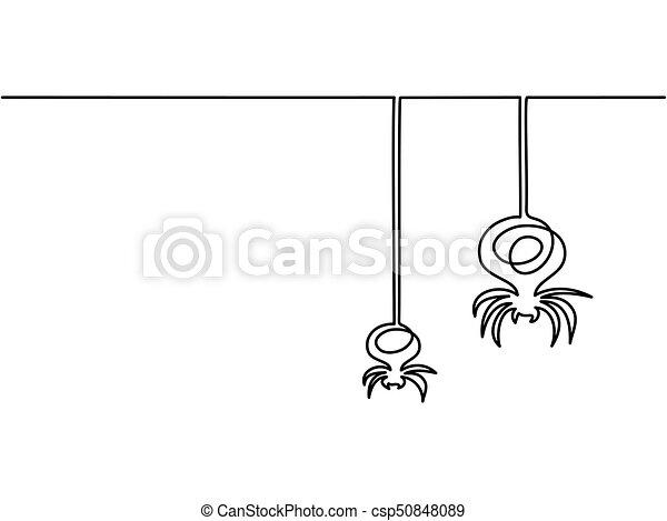 Linea Continuo Halloween Aranas Dibujo Continuo Halloween - Dibujos-araas-halloween