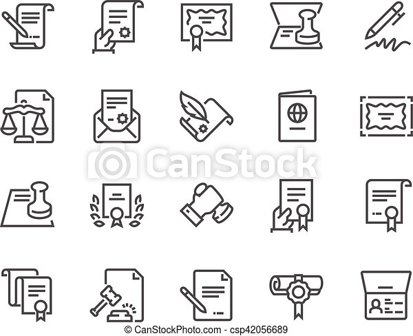 Línea de documentos legales iconos - csp42056689