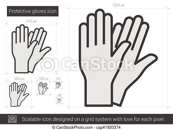 El icono de los guantes protectores. - csp41920374