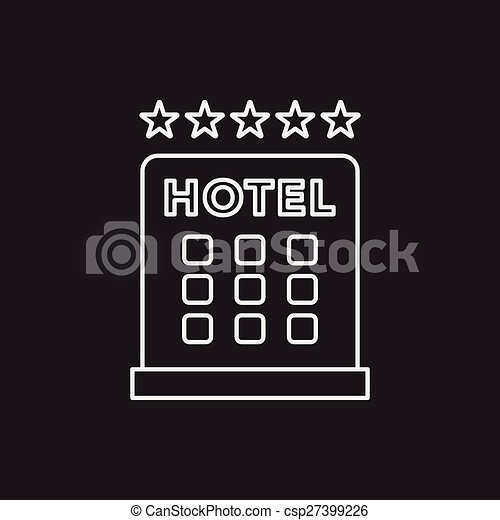 El ícono de la línea del hotel - csp27399226