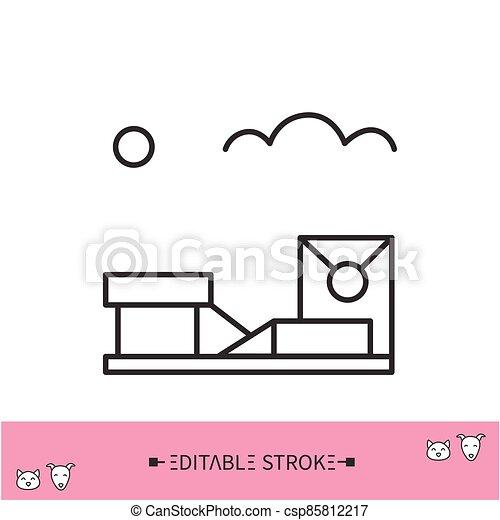 línea, icon., ambulante, ilustración, editable, área, perro - csp85812217