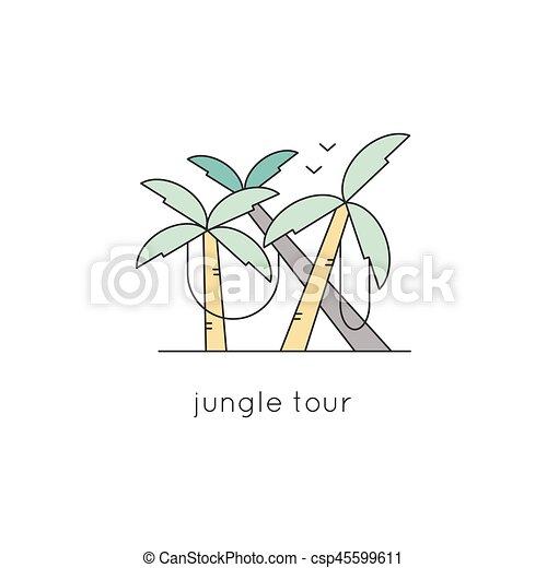 Línea, selva, icono. Simple, moderno, lianas., palma, logotipo ...