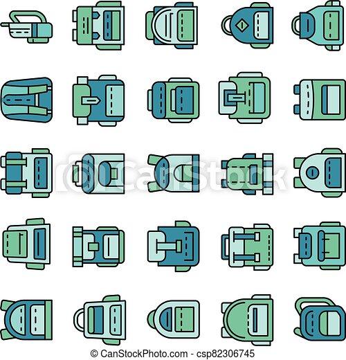 línea, vector, icono, conjunto, color, mochila - csp82306745
