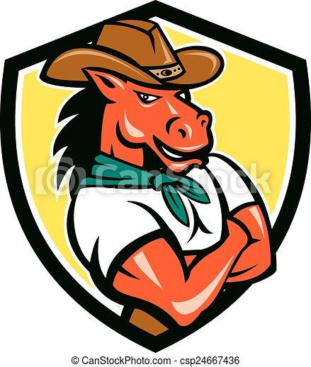 ló, pajzs, cowboy, fegyver kereszteződnek, karikatúra - csp24667436