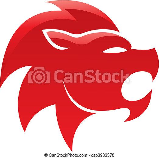 Roter, glänzender Löwe - csp3933578
