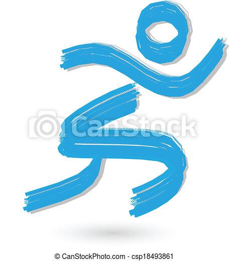 løber, logo, børst, figur - csp18493861