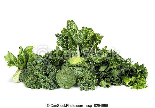 løvrige grønsager, grønne, isoleret - csp18294996