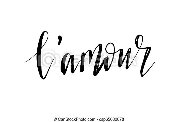 L Amour Love In French Text Isolated On White Background