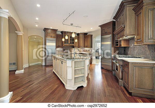 l-shaped, île, cuisine - csp2972652