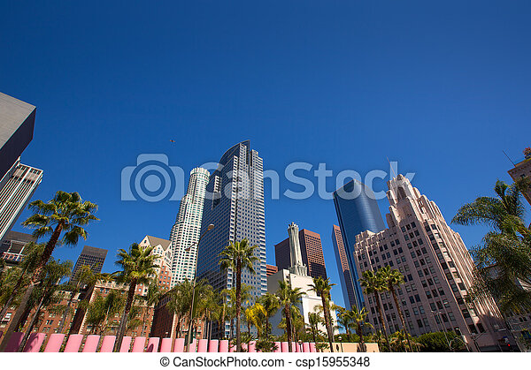 LA Downtown Los Angeles Pershing Square palm tress - csp15955348