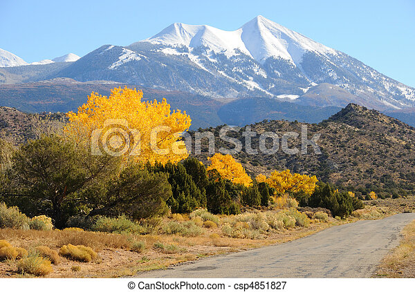 La Sal Mountain Byway in the Fall - csp4851827