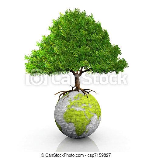la terre, arbre, séance - csp7159827