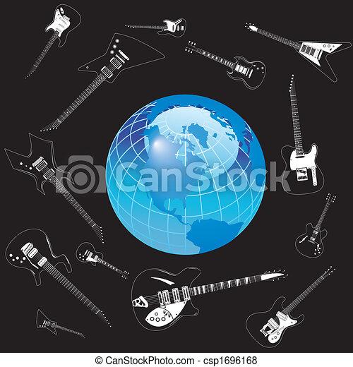 la terre, cercle, vecteur, guitares - csp1696168