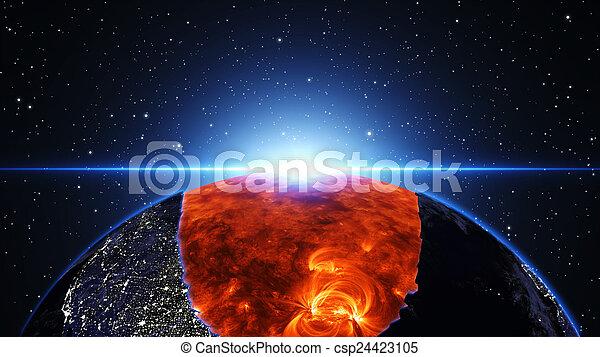 la terre, exploser, ou, brûlé - csp24423105
