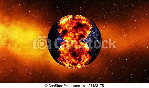 la terre, exploser, ou, brûlé - csp24423175