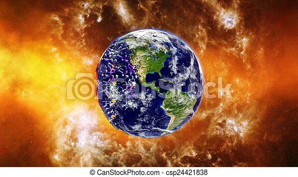 la terre, exploser, ou, brûlé - csp24421838