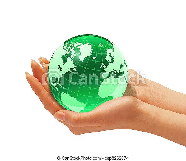 la terre, femme, globe., tenant mains - csp8262674