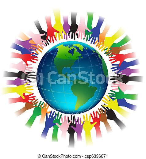 la terre, mains atteindre - csp6336671