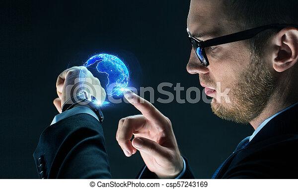 la terre, montre, hologramme, intelligent, homme affaires