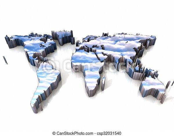 la terre, nuage, carte - csp32031540