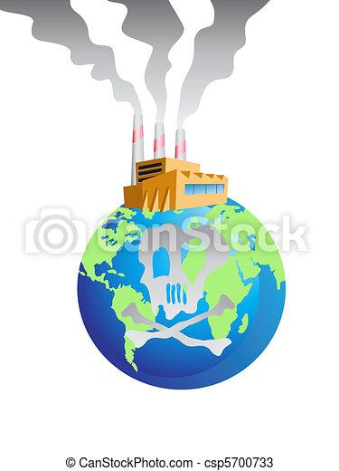 La Terre Pollué Globe Usine Pollué