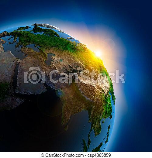 la terre, sur, extérieur, levers de soleil, espace - csp4365859