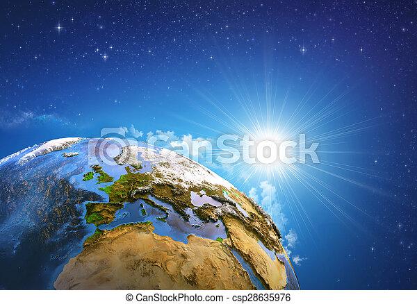 la terre, sur, levers de soleil - csp28635976