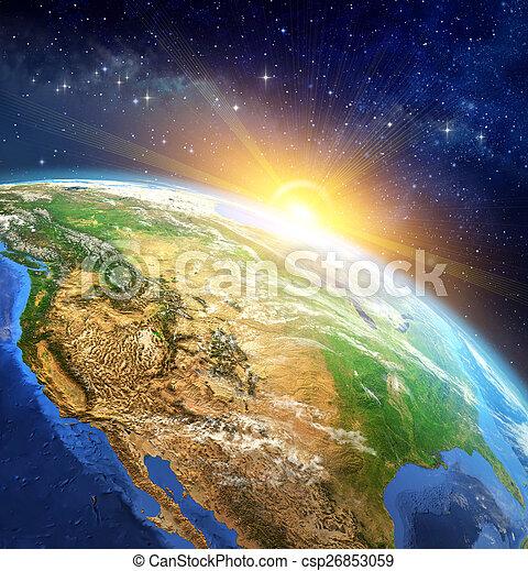 la terre, sur, levers de soleil - csp26853059