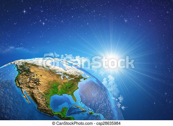la terre, sur, levers de soleil - csp28635984