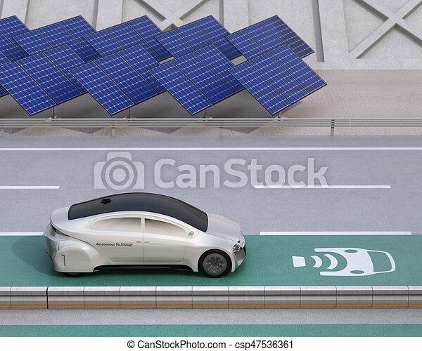 Laan Elektrisch Geleider Auto Draadloos Opladen Snelweg Laan