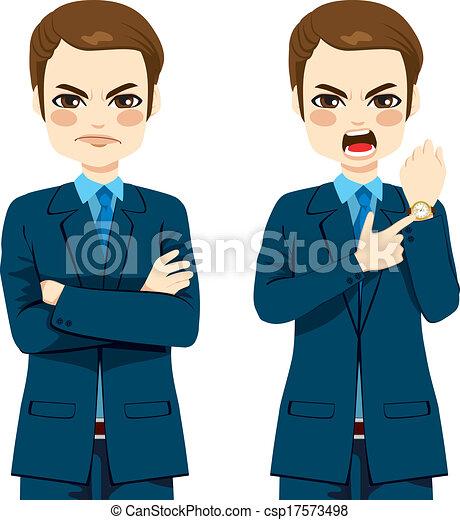 laat, zakenman, boos, concept - csp17573498