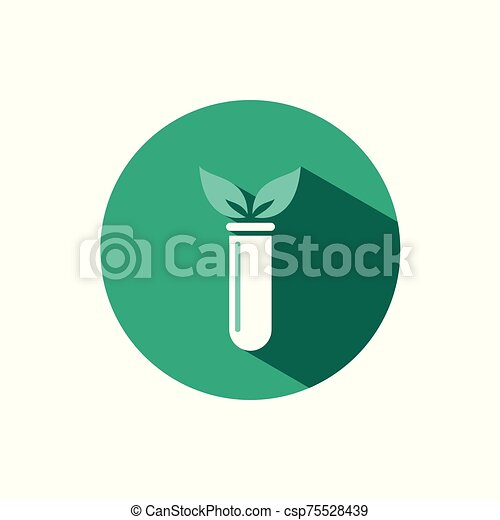 Lab plant icon with shadow on a green circle. Vector pharmacy illustration - csp75528439