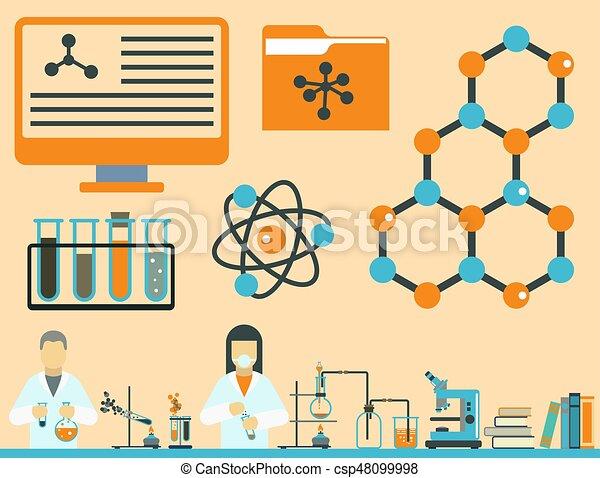 Lab symbols test medical laboratory scientific biology... eps ...