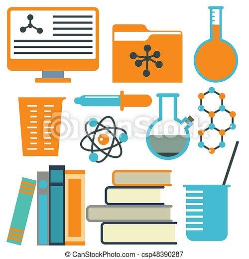 Lab symbols test medical laboratory scientific biology design science chemistry icons vector illustration. - csp48390287