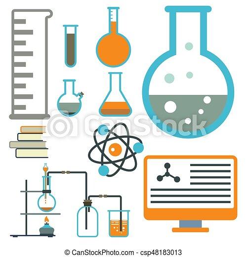 Lab symbols test medical laboratory scientific biology... vector ...