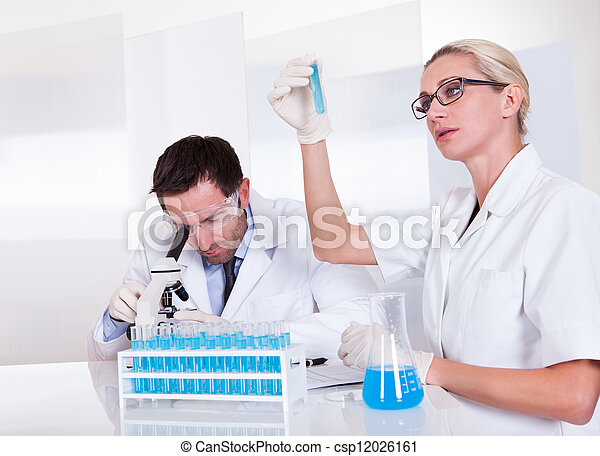 Lab technicians at work in a laboratory - csp12026161