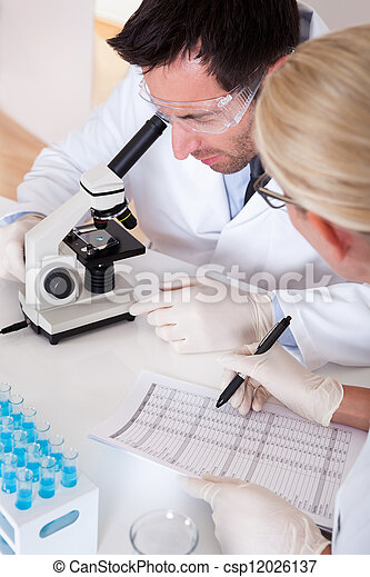 Lab technicians at work in a laboratory - csp12026137