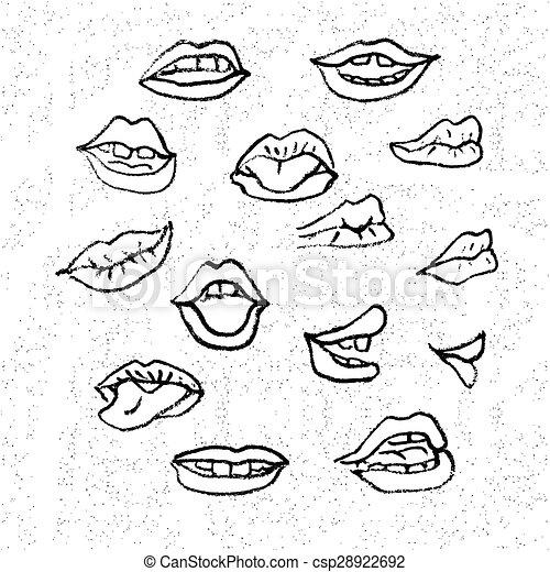 Eccezionale Labbra, set. Rappresenta, differente, set, mouths., stile  FR38
