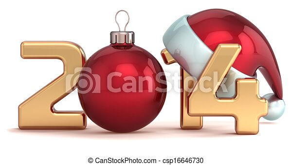 labda, év, új, 2014, karácsony, boldog - csp16646730