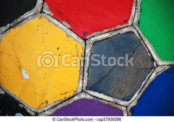labda, öreg, színes, egyenetlen, futball - csp37939386