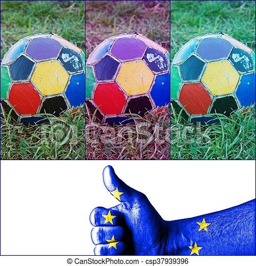 labda, öreg, színes, egyenetlen, futball - csp37939396
