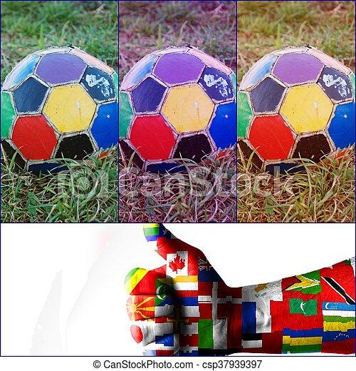 labda, öreg, színes, egyenetlen, futball - csp37939397