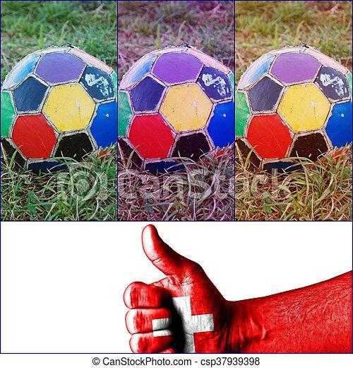 labda, öreg, színes, egyenetlen, futball - csp37939398