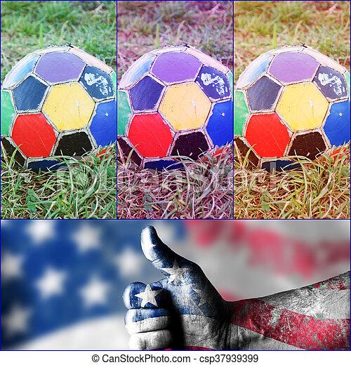 labda, öreg, színes, egyenetlen, futball - csp37939399